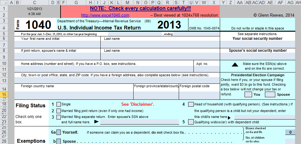 Its Form 1040 In Excelneed I Say More Going Concern